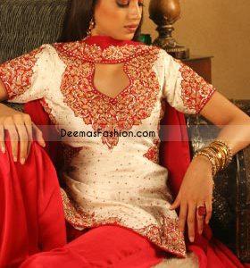 Latest Pakistani Ladies Wear Off White Red Shalwar Kameez