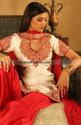 Latest Pakistani Ladies Wear Off White Red Shalwar Kameez