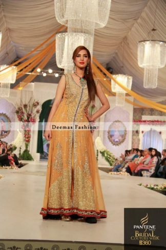 Orange Front Open Anarkali Pishwas