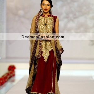Pakistani Formal Party Wear Dress Maroon Golden A Line Dress