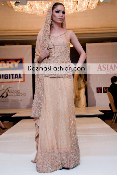Peach Bridal Wear Lehnga