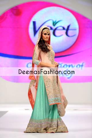Peach Ferozi Green Designer Wear Bridal Sharara