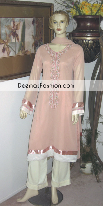Peach off White Party Casual Wear Dress