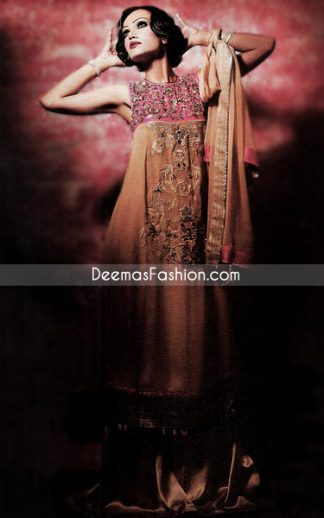Latest Designer Wear - Brown & Shocking Pink