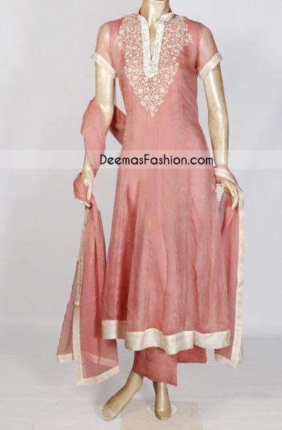 Sale Pakistani Simple Pink Anarkali Dress