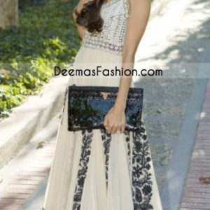 Pink Embroidered Border Pure White Chiffon Full Frock - Sale Latest Indian Ladies Fashion Off White Pishwas