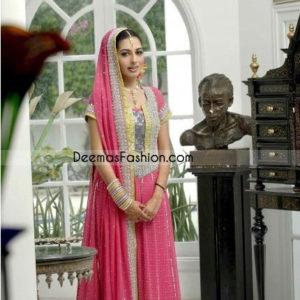 Ladies Wear Pink Anarkari Embroidered Outfit Churidar