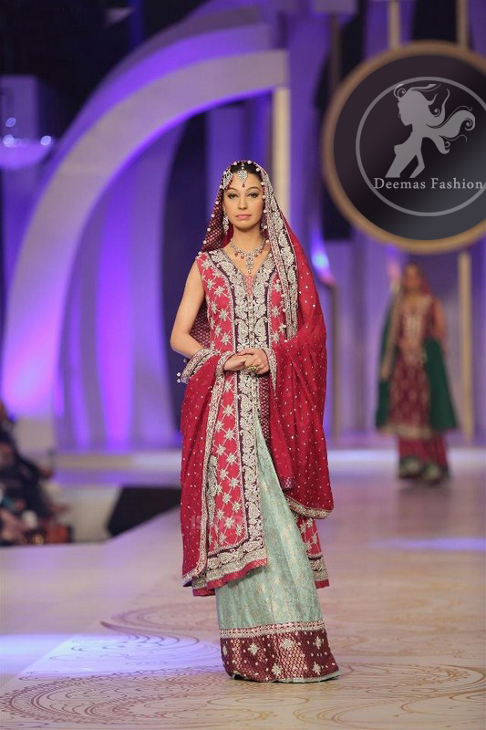 Pinkish Red Front Open Gown Dupatta with Pistachio Green Lehnga