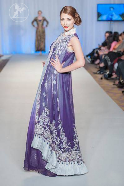 Purple Blue Double Layer Front Open Back Trail Gown