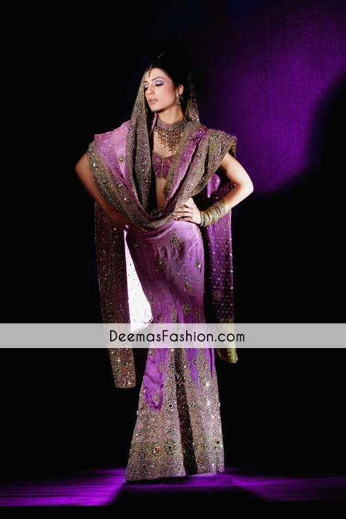 Purple Bridal Wear Fish Style Lehnga