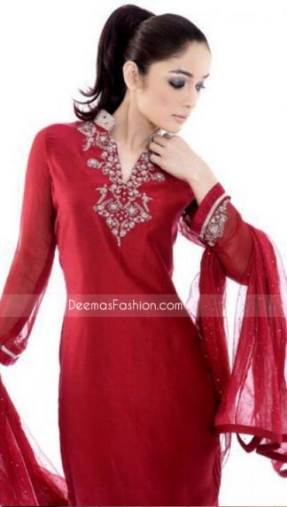New Pakistani Ladies Dress - Red Chiffon