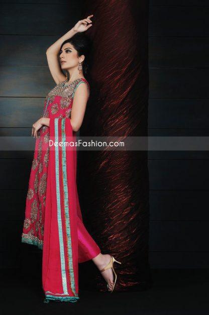 Latest Pakistani Formal Fashion - Deep Red Chiffon