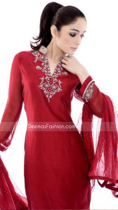 New Pakistani Ladies Dress – Red Chiffon