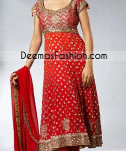 Pakistani Latest Fashion - Red Anarkali Pishwas Dress