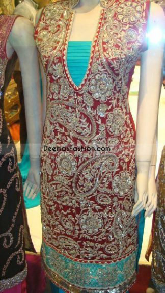 Pakistani Formal Dress Shocking Pink Bottle Green