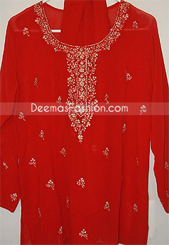 Red Georgette Pakistani Shalwar Kameez Dress