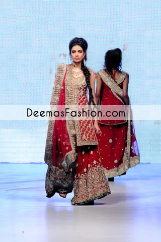 Red Heavy Formal Bridal Lehenga