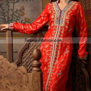 New Pakistani Ladies Party Wear Red Purple Open Shirt