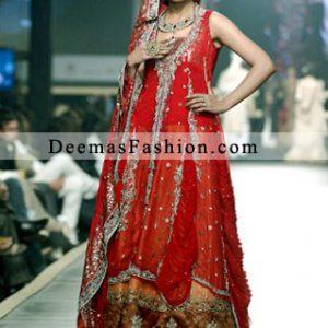 Red Orange Bridal Wear Lehnga