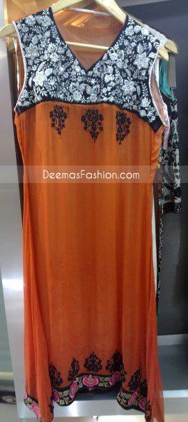 Pakistani Ladies Casual Wear Rust A-Line Dress