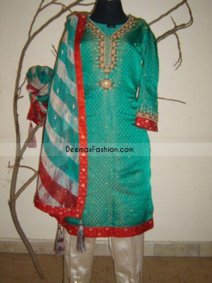 Indian Ladies Wear Sea Green Red Jamawar Dress