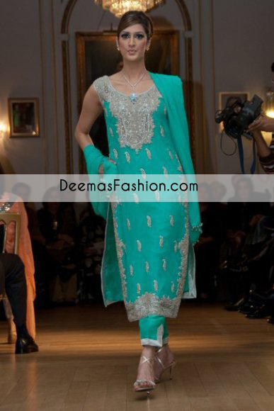 Sea Green Formal Wear Long Shirt with Capri Pants