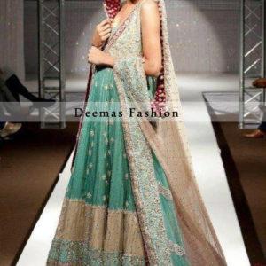 Sea Green Light Brown Bridal Wear Anarkali Pishwas