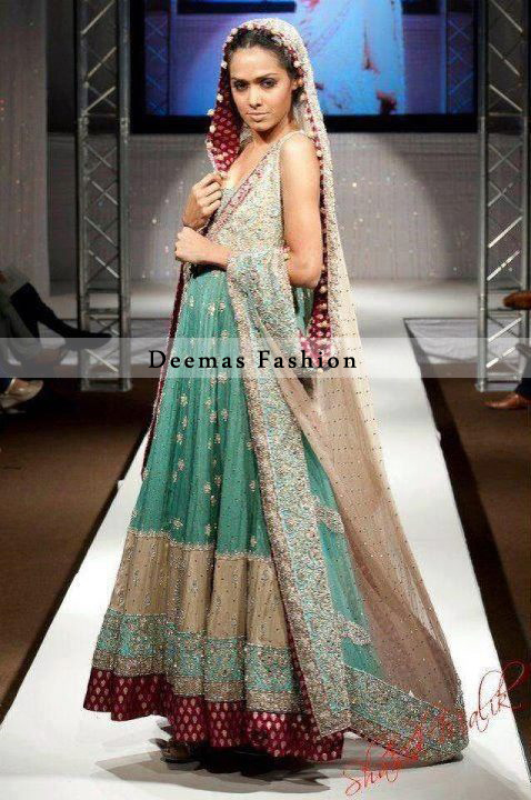 Sea Green Light Brown Bridal Wear Anarkali Pishwas
