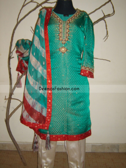 Indian Ladies Wear Sea Green Red Jamawar Dress