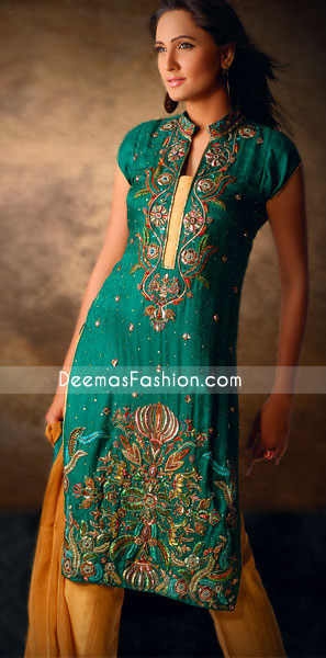 Pakistani Party Clothes Emerald Green & Golden Yellow Dress