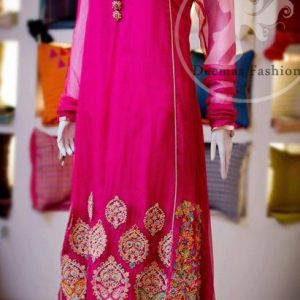 Shocking Pink Pure Chiffon A-Line Frock And White Churidar