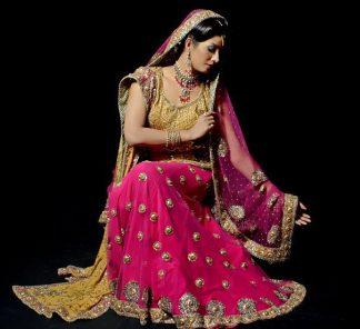 Pakistani Shocking Pink Golden Yellow Bridal Wear Lehnga
