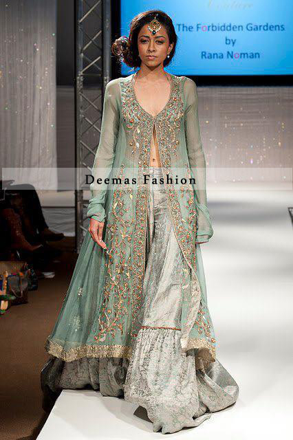 Bridal Wear Light Green Open Shirt Silver Grey Gharara