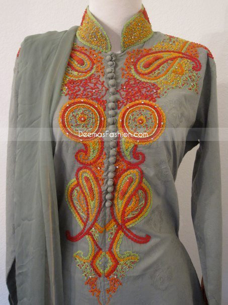 Pakistani Dress Simple Grey Shalwar Kameez Latest: fashion embroidery designs
