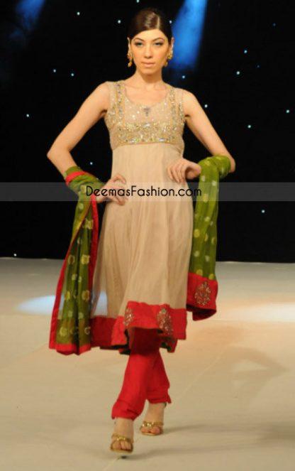 Pakistani Ladies Fashion - Simple Beige Frock Churidar