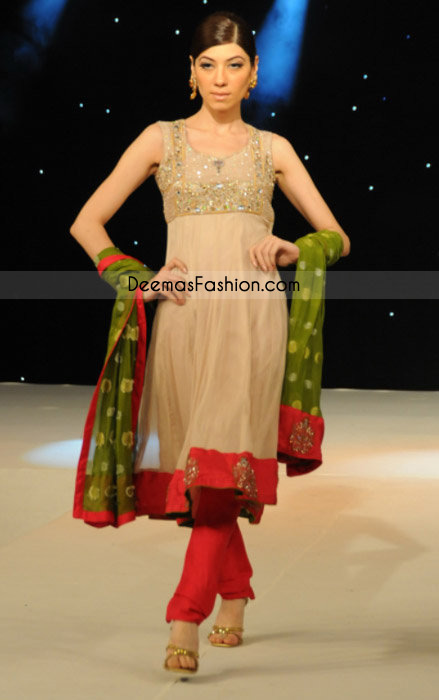 Pakistani Ladies Fashion - Simple Beige Frock Churidar