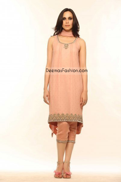 Latest Designer Wear Peach Casual Dress
