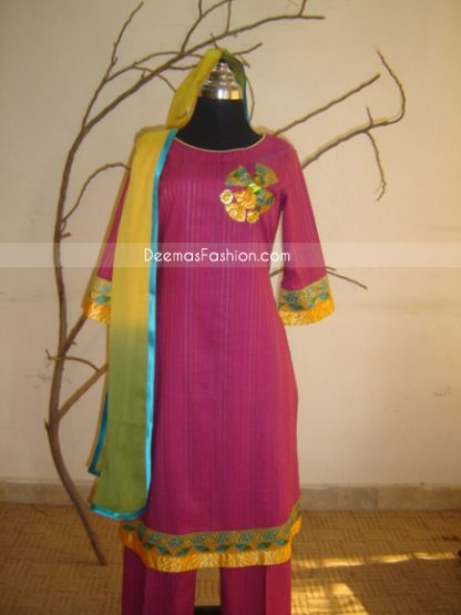 Pakistani Casual Clothes Shocking Pink Dress