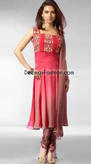 Pakistani Designer Wear – Simple Pink Red Anarkali Dress