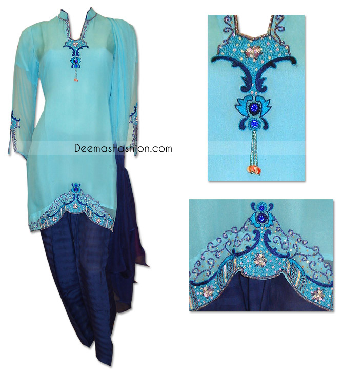 Traditional Pakistani Casual Shalwar Kameez Aqua Blue