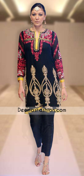 Stylish Black Embroidered Front