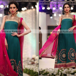 Turquoise Green Pure Chiffon Aline Formal Dress with Shocking Pink Dupatta