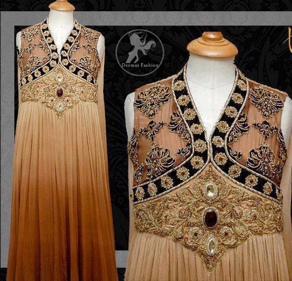 Triple Tone Anarkali Pishwas with Embroidered Bodice