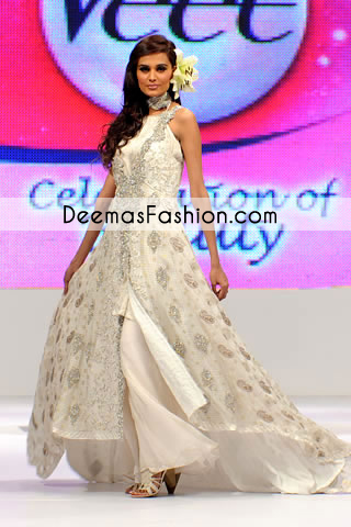 White Heavy Formal Wear Anarkali Pishwas Dress