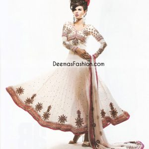 Pakistani Fashion Dress White Red Pishwas - Anarkali Churidar