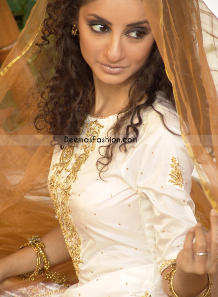 Pakistani Boutique Design White Golden Casual Dress