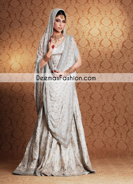 White Traditional Bridal Wear Lehnga