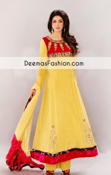 1bb4af5198a4 Yellow A-line Anarkali Bridal Wear Dress - Latest Designer Dresses ...