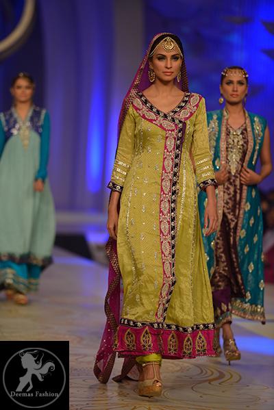 Yellow & Shocking Pink Andrakha Style Frock & Churidar
