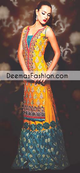 Yellow Ferozi Green Bridal Mehndi Wear Sharara